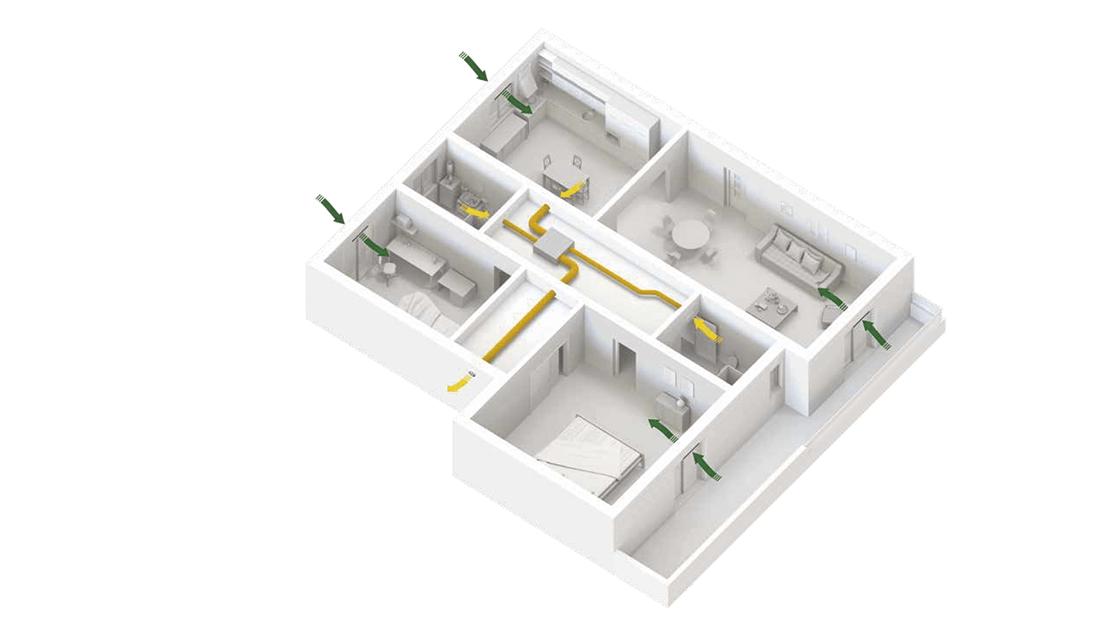 ventilação descentralizada fluxo simples